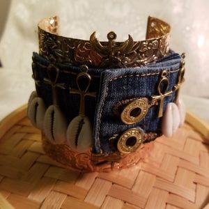 Denim blue jeans Ankhs/cowrie cuff bracelet